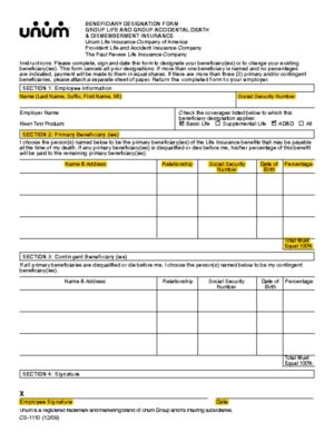 thumbnail of Life Ins. Beneficiary Form